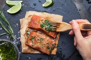 Cooking salmon preparation.
