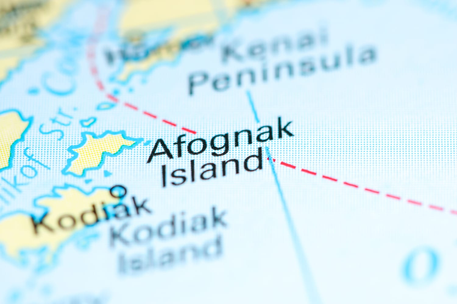 A map of Afognak Island seen while constructing a travel packing list for an Alaskan adventure.